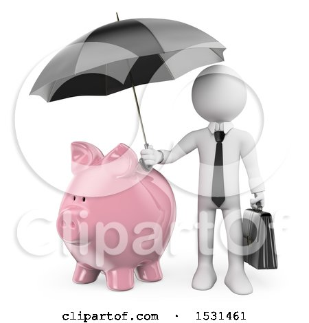 Clipart of a 3d White Business Man Holding an Umbrella over a Piggy Bank, on a White Background - Royalty Free Illustration by Texelart