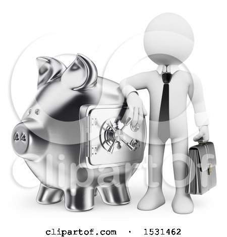 Clipart of a 3d White Business Man with a Silver Piggy Bank, on a White Background - Royalty Free Illustration by Texelart