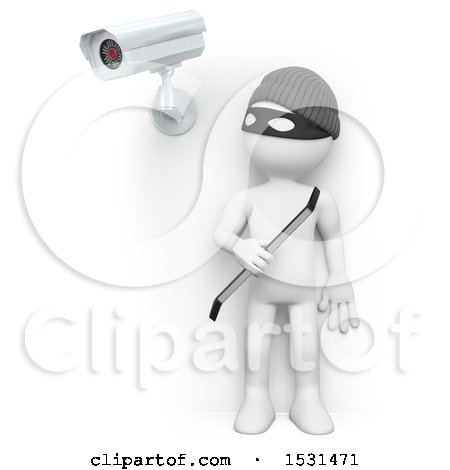 Clipart of a 3d White Man Robber Under a Surveillance Cam, on a White Background - Royalty Free Illustration by Texelart