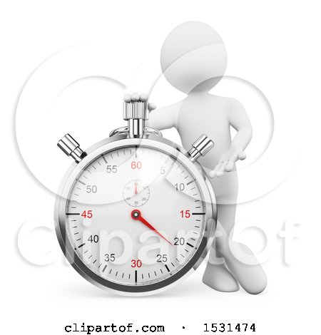 Clipart of a 3d White Man Leaning on a Stopwatch, on a White Background - Royalty Free Illustration by Texelart
