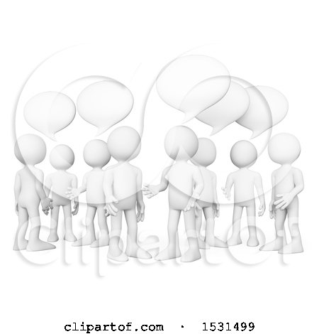Clipart of a 3d Group of White Men Talking, on a White Background - Royalty Free Illustration by Texelart