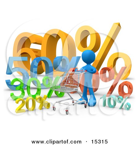 Blue Person Pushing A Shopping Cart Past Discount Percentage Signs In A Store  Posters, Art Prints