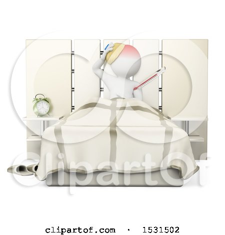 Clipart of a 3d White Man Sick in Bed, on a White Background - Royalty Free Illustration by Texelart