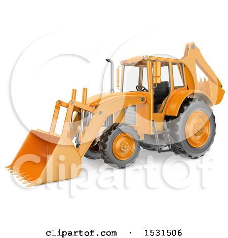 3d Backhoe Digger, on a White Background Posters, Art Prints