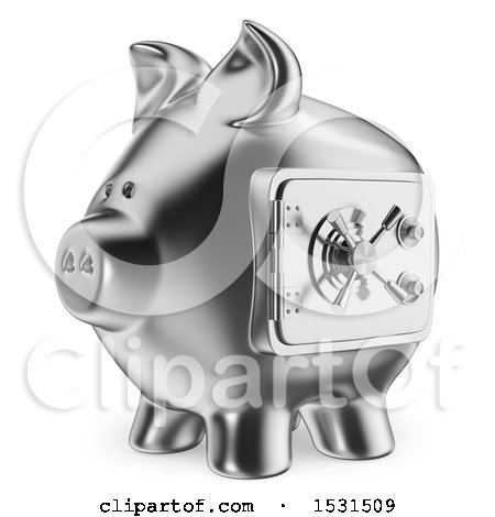 3d Silver Piggy Bank Vault, on a White Background Posters, Art Prints