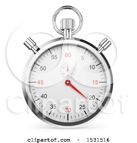 Clipart of a 3d Stopwatch Chronometer, on a White Background - Royalty Free Illustration by Texelart