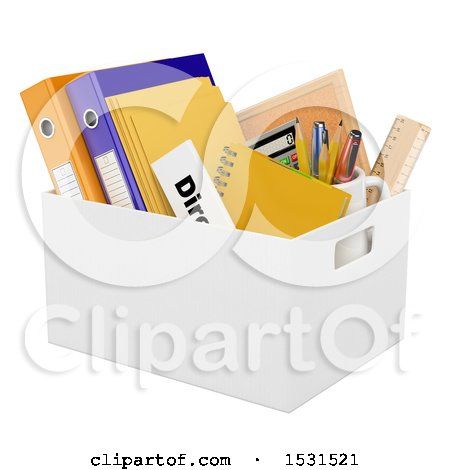 Clipart of a 3d Box of a Fired Employee, on a White Background - Royalty Free Illustration by Texelart
