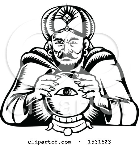 Clipart of a Black and White Woodcut Retro Fortune Teller with a Crystal Ball - Royalty Free Vector Illustration by patrimonio