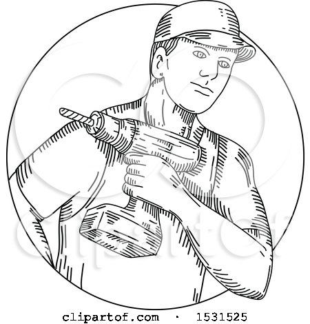 Clipart of a Sketched Handyman Holding a Cordless Drill - Royalty Free Vector Illustration by patrimonio