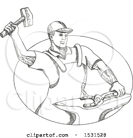 Clipart of a Sketched Farfier Striking a Horseshoe with a Hammer on an Anvil - Royalty Free Vector Illustration by patrimonio