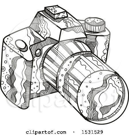 Clipart of a Sketched DSLR Camera - Royalty Free Vector Illustration by patrimonio