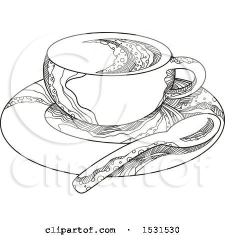 Clipart of a Sketched Coffee Cup on a Saucer with a Spoon - Royalty Free Vector Illustration by patrimonio