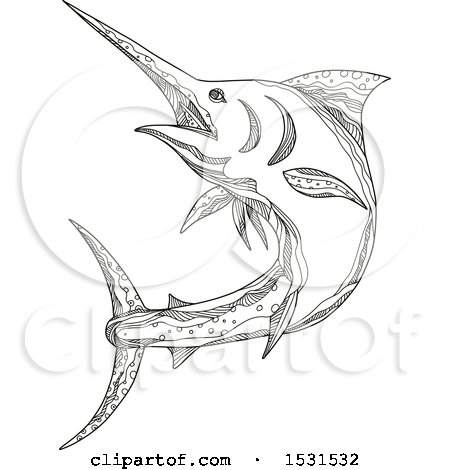 Clipart of a Sketched Atlantic Blue Marlin Fish - Royalty Free Vector Illustration by patrimonio