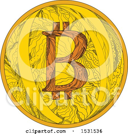 Clipart of a Sketched Bitcoin in Zentangle Style - Royalty Free Vector Illustration by patrimonio