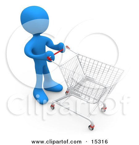Blue Person Standing In A Store With A Shopping Cart  Posters, Art Prints