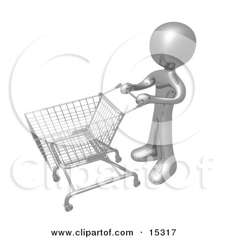 Gold Person Standing With An Empty Shopping Cart In A Store  Posters, Art Prints