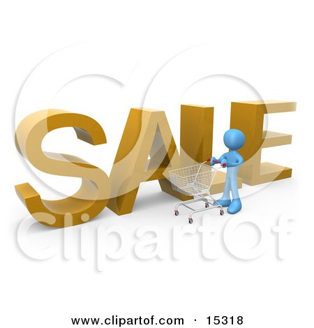 Blue Person Pushing A Shopping Cart By A Large Golden Sale Sign In A Store  Posters, Art Prints