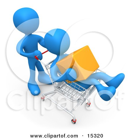 Blue Person Pushing Another Person Who Is Holding A Cube And Riding In A Shopping Cart In A Store  Posters, Art Prints