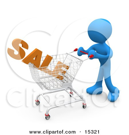 Blue Person Pushing A Shopping Cart In A Store With The Word Sale In It  Posters, Art Prints