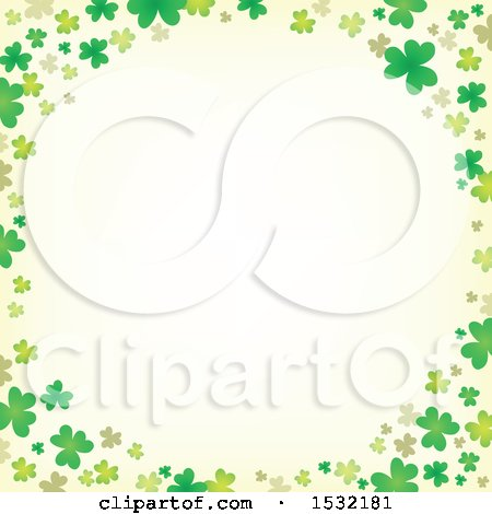 Clipart of a St Patricks Day Border with Shamrocks - Royalty Free Vector Illustration by visekart