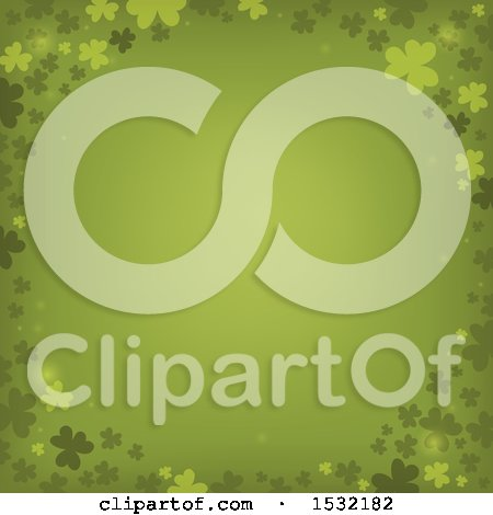 Clipart of a St Patricks Day Border with Shamrocks on Green - Royalty Free Vector Illustration by visekart