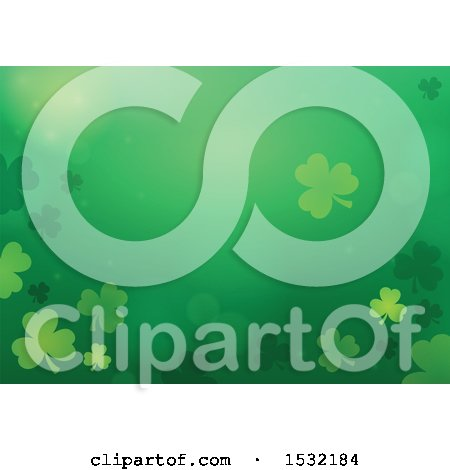Clipart of a St Patricks Day Background with Shamrocks - Royalty Free Vector Illustration by visekart