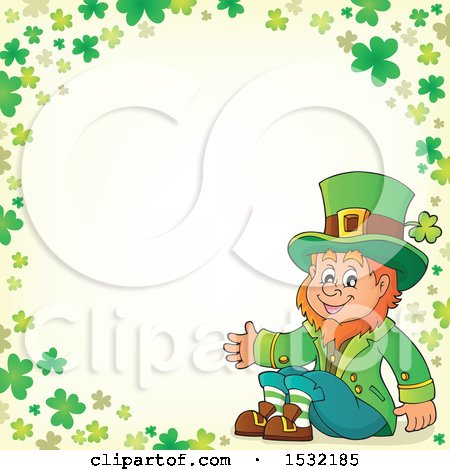 Clipart of a St Patricks Day Leprechaun in a Green Shamrock Border - Royalty Free Vector Illustration by visekart