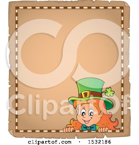 Clipart of a Blank Parchment Page with a St Patricks Day Female Leprechaun - Royalty Free Vector Illustration by visekart