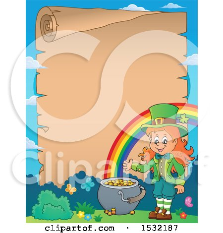 Clipart of a Border of a Female Leprechaun and Rainbow with a Blank St Patricks Day Scroll - Royalty Free Vector Illustration by visekart