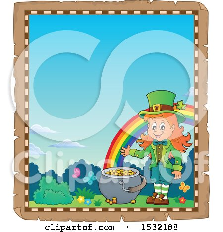Clipart of a Border of a St Patricks Day Female Leprechaun with a Pot of Gold at the End of a Rainbow - Royalty Free Vector Illustration by visekart