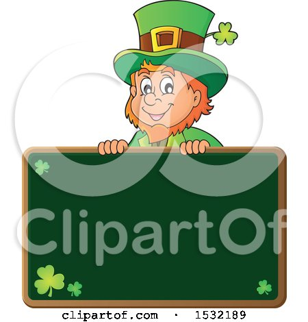 Clipart of a St Patricks Day Leprechaun over a Chalkboard - Royalty Free Vector Illustration by visekart
