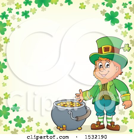 Clipart of a St Patricks Day Leprechaun with a Pot of Gold in a Green Shamrock Border - Royalty Free Vector Illustration by visekart