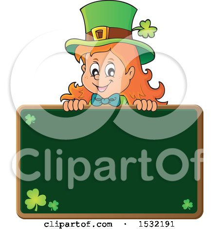 Clipart of a St Patricks Day Female Leprechaun over a Blank Chalkboard - Royalty Free Vector Illustration by visekart