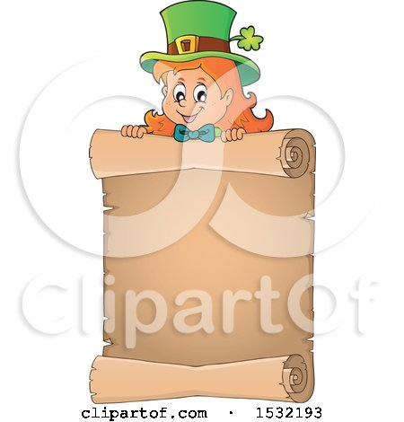 Clipart of a Female Leprechaun over a Blank St Patricks Day Scroll - Royalty Free Vector Illustration by visekart