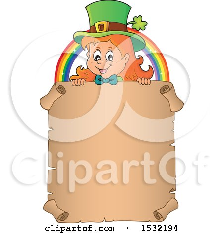 Clipart of a Female Leprechaun and Rainbow over a Blank St Patricks Day Scroll - Royalty Free Vector Illustration by visekart