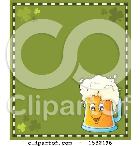 Clipart of a St Patricks Day Border with Shamrocks and a Beer Character - Royalty Free Vector Illustration by visekart