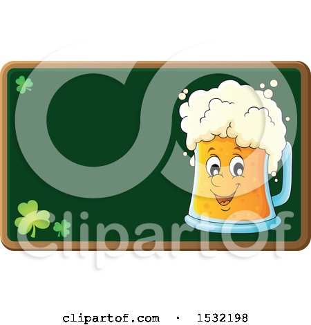 Clipart of a St Patricks Day Beer Character on a Chalkboard - Royalty Free Vector Illustration by visekart