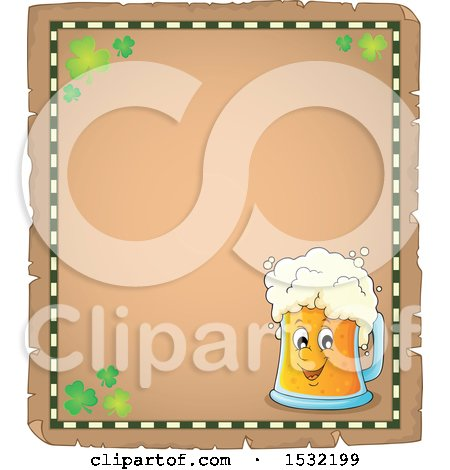 Clipart of a St Patricks Day Parchment Border with Shamrocks and a Beer Character - Royalty Free Vector Illustration by visekart