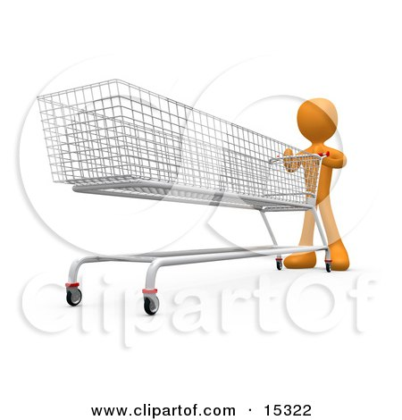 Orange Person Pushing A Super Long Shopping Cart In A Store While Planning To Purchase A Lot  Posters, Art Prints