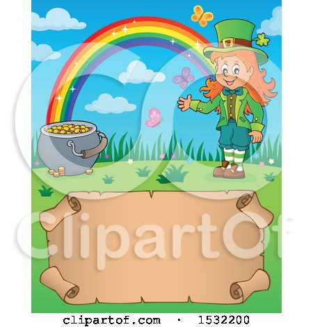 Clipart of a Female Leprechaun, Pot of Gold and Rainbow over a Blank St Patricks Day Scroll - Royalty Free Vector Illustration by visekart