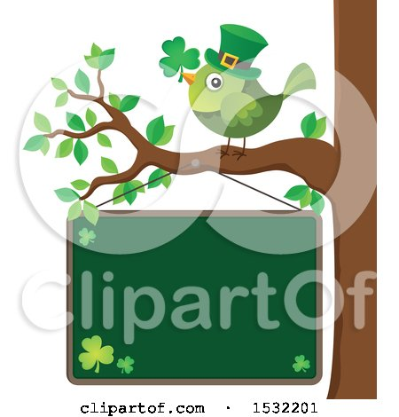 Clipart of a Green St Patricks Day Bird on a Branch over a Chalkboard - Royalty Free Vector Illustration by visekart