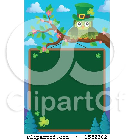 Clipart of a Green St Patricks Day Owl on a Branch over a Chalkboard - Royalty Free Vector Illustration by visekart