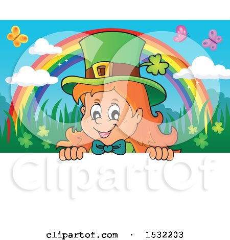 Clipart of a St Patricks Day Female Leprechaun Looking over a Sign with a Rainbow and Butterflies - Royalty Free Vector Illustration by visekart