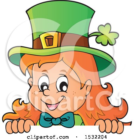 Clipart of a St Patricks Day Female Leprechaun Looking over a Sign - Royalty Free Vector Illustration by visekart