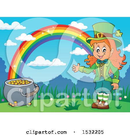 Clipart of a St Patricks Day Female Leprechaun with a Pot of Gold at the End of a Rainbow - Royalty Free Vector Illustration by visekart