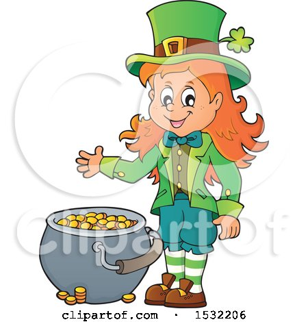 Clipart of a St Patricks Day Female Leprechaun with a Pot of Gold - Royalty Free Vector Illustration by visekart