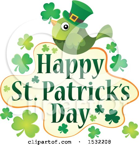 Clipart of a Happy St Patricks Day Greeting with a Green Bird - Royalty Free Vector Illustration by visekart