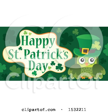 Clipart of a Green Owl with a Happy St Patricks Day Greeting - Royalty Free Vector Illustration by visekart