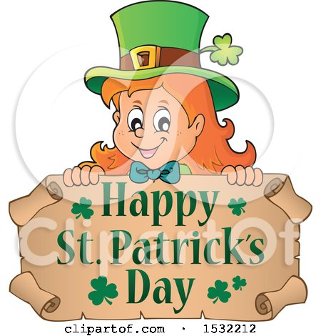 Clipart of a Female Leprechaun over a Scroll with a Happy St Patricks Day Greeting - Royalty Free Vector Illustration by visekart