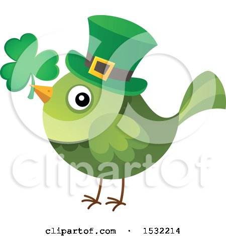 Clipart of a Green St Patricks Day Bird with a Clover and Top Hat - Royalty Free Vector Illustration by visekart